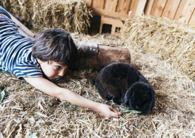 PATRIZIA Child Therapy Augsburg, Deutschland - Ziegelhof, Junge mit Hase im Stroh
