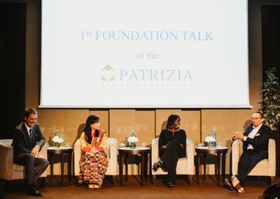 Event 1. PATRIZIA Foundation Talk Frankfurt - Philipp Bächstädt, Her Majesty Queen Mother Sangay Choden Wangchuck, Dr. Auma Obama und Wolfgang Egger im Gespräch